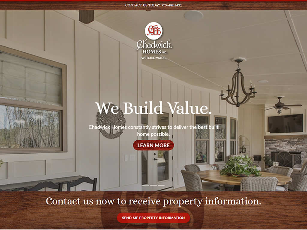 Chadwick Homes Custom Website Redesign