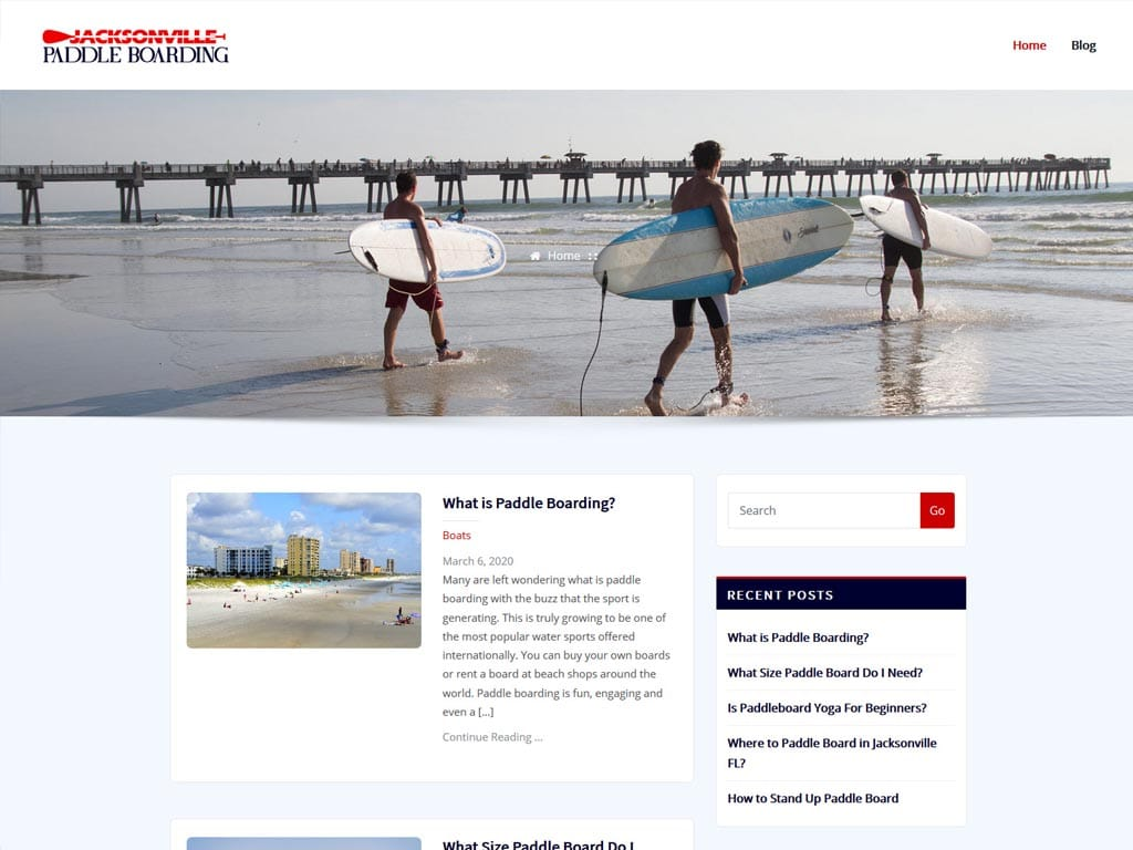 Jacksonville Paddle Boarding WordPress Website Design