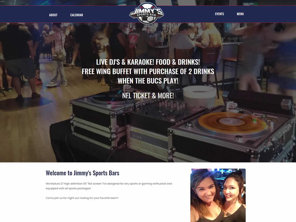 Jimmys Sports Bar Custom Web Design